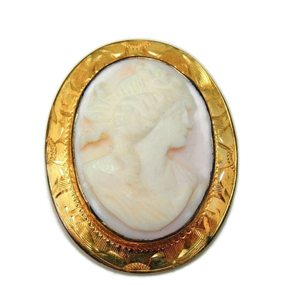 Cameo Brooch Vintage Pink Shell Gilt Ornate Setting - Premier Estate Gallery  - 1
