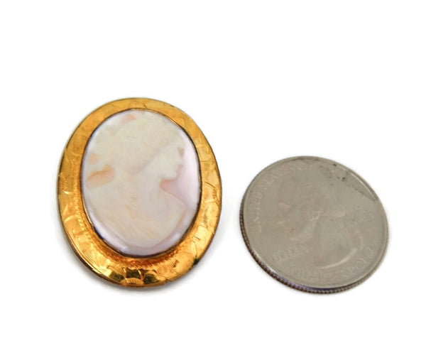 Cameo Brooch Vintage Pink Shell Gilt Ornate Setting - Premier Estate Gallery  - 4