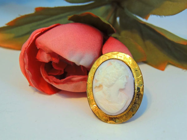 Cameo Brooch Vintage Pink Shell Gilt Ornate Setting - Premier Estate Gallery  - 6