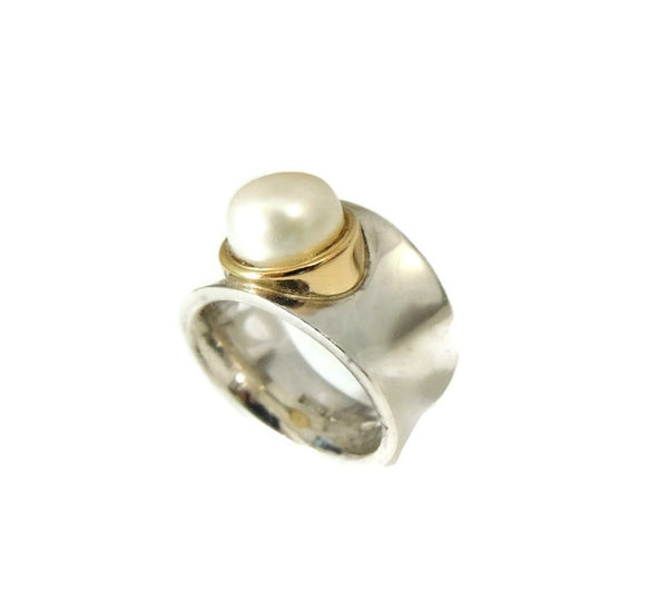 Italian Cultured Pearl Ring Sterling Silver 18k Gold Wide Band - Premier Estate Gallery  - 2
