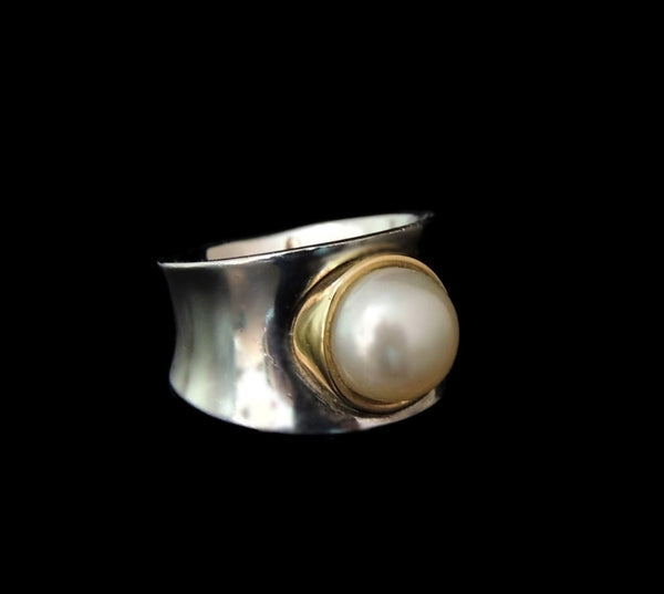 Italian Cultured Pearl Ring Sterling Silver 18k Gold Wide Band - Premier Estate Gallery  - 3