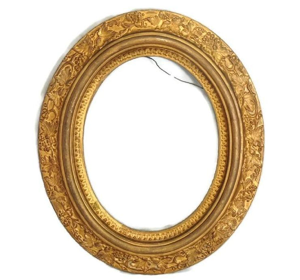 Antique Gilded Oval Picture Frame Victorian