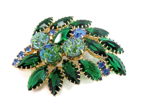 Vintage Rhinestone Brooch Blue Green Iridescent Art Glass Stones - Premier Estate Gallery  - 1