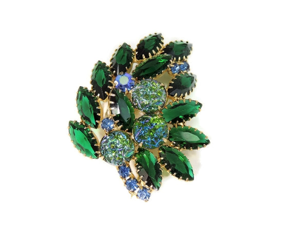 Vintage Rhinestone Brooch Blue Green Iridescent Art Glass Stones - Premier Estate Gallery  - 2
