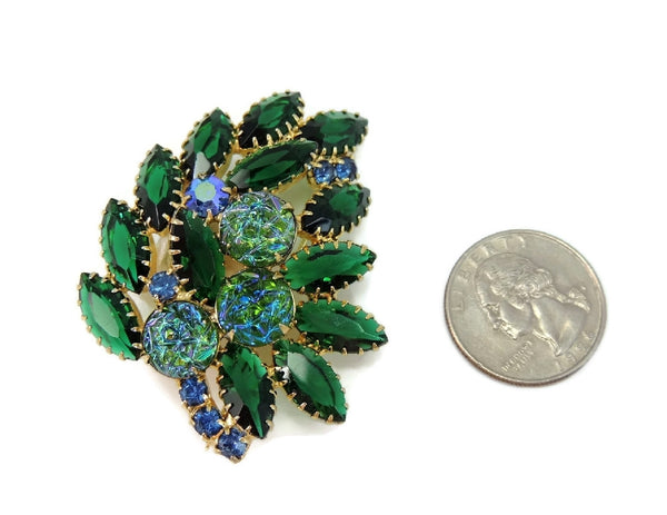 Vintage Rhinestone Brooch Blue Green Iridescent Art Glass Stones - Premier Estate Gallery  - 3