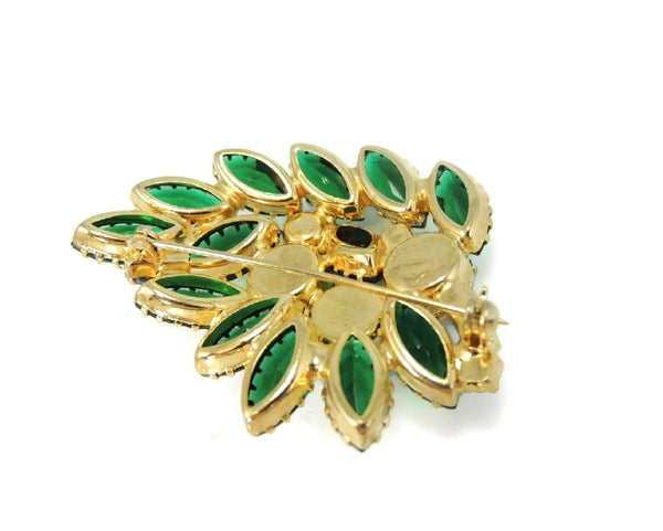 Vintage Rhinestone Brooch Blue Green Iridescent Art Glass Stones - Premier Estate Gallery  - 4