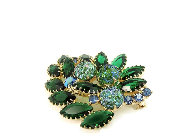 Vintage Rhinestone Brooch Blue Green Iridescent Art Glass Stones - Premier Estate Gallery  - 5