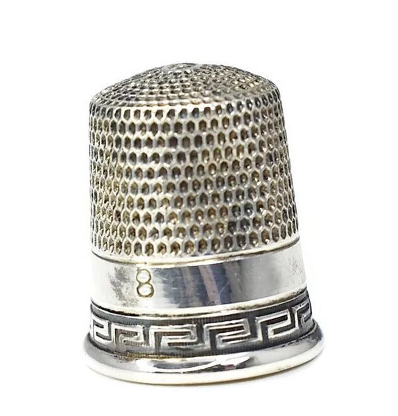 Victorian Sterling Thimble Greek Key Simon Bros Antique - Premier Estate Gallery
