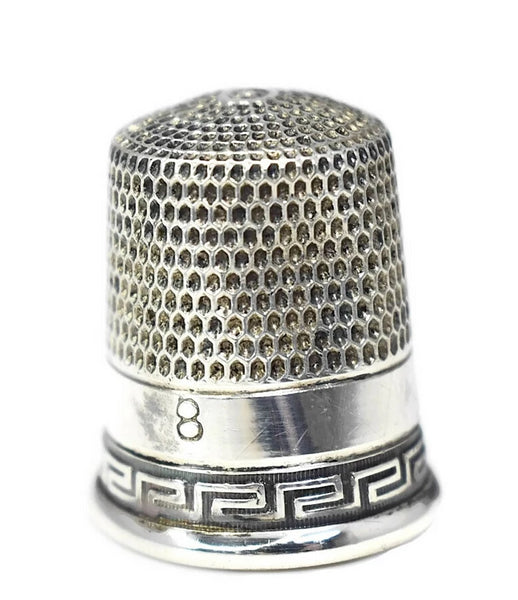Victorian Sterling Thimble Greek Key Simon Bros Antique - Premier Estate Gallery 2