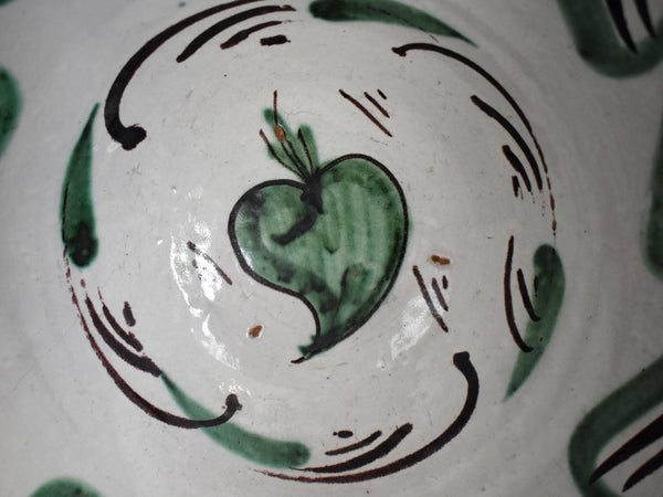 19th Century Green Tin Glaze Earthenware Bowl Basin Teruel Spain