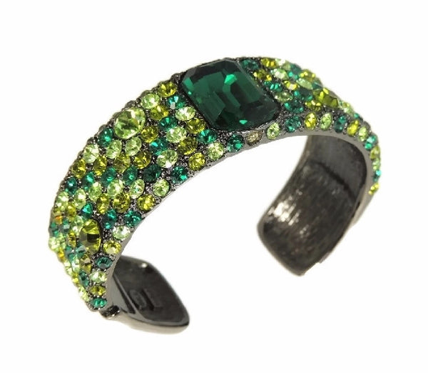 Emerald Green Rhinestone Cuff Bracelet KJL Kenneth Lane - Premier Estate Gallery  - 2