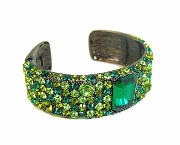 Emerald Green Rhinestone Cuff Bracelet KJL Kenneth Lane