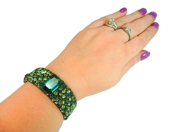 Emerald Green Rhinestone Cuff Bracelet KJL Kenneth Lane - Premier Estate Gallery  - 3
