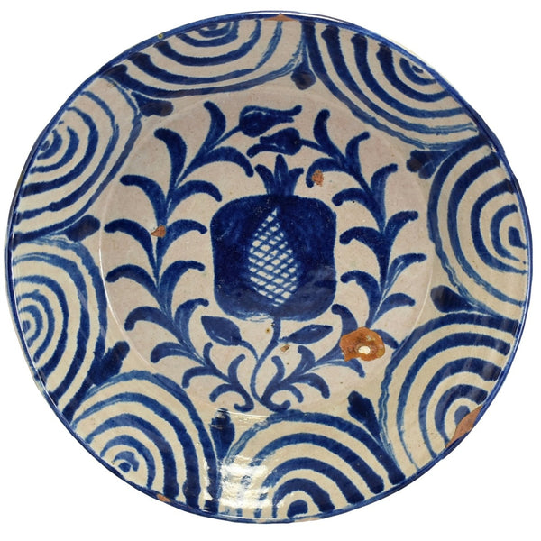 Early 19th Cent Blue Decorated Pineapple Bowl Basin Talavera Spain - Premier Estate Gallery 1