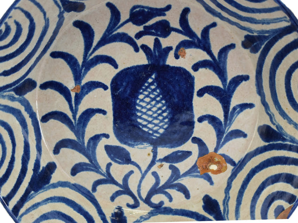 Early 19th Cent Blue Decorated Pineapple Bowl Basin Talavera Spain - Premier Estate Gallery 3