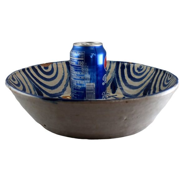 Early 19th Cent Blue Decorated Pineapple Bowl Basin Talavera Spain