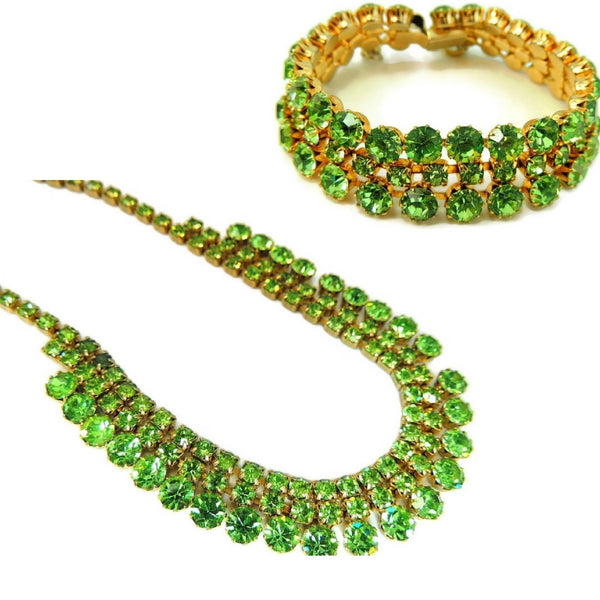 50s Peridot Green Rhinestone Jewelry Set Choker Necklace and 3 Row Bracelet