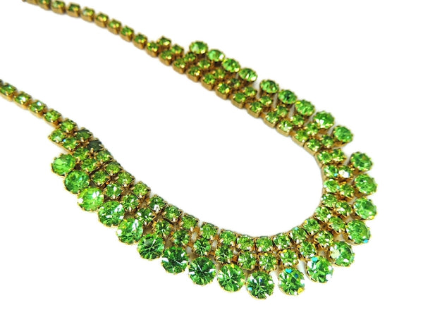 50s Peridot Green Rhinestone Jewelry Set Choker Necklace and 3 Row Bracelet - Premier Estate Gallery  - 2