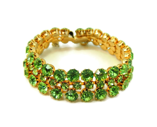 50s Peridot Green Rhinestone Jewelry Set Choker Necklace and 3 Row Bracelet - Premier Estate Gallery  - 3