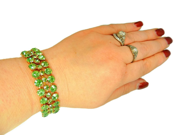 50s Peridot Green Rhinestone Jewelry Set Choker Necklace and 3 Row Bracelet - Premier Estate Gallery  - 4