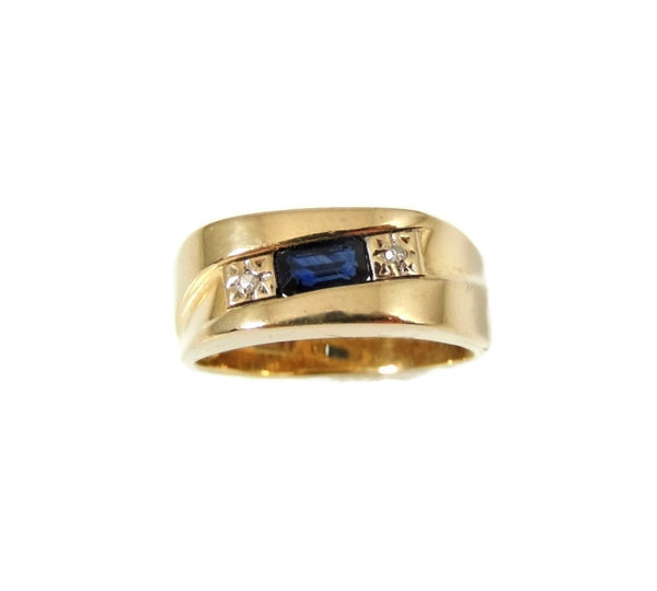 Sapphire Diamond Accent Ring 14k Gold Unisex - Premier Estate Gallery  - 2