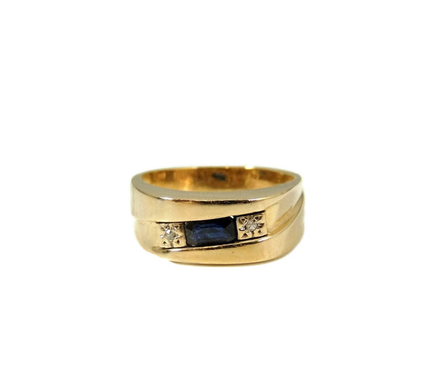 Sapphire Diamond Accent Ring 14k Gold Unisex - Premier Estate Gallery  - 5