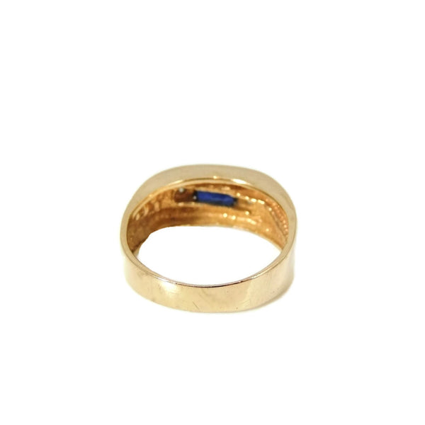 Sapphire Diamond Accent Ring 14k Gold Unisex - Premier Estate Gallery  - 4