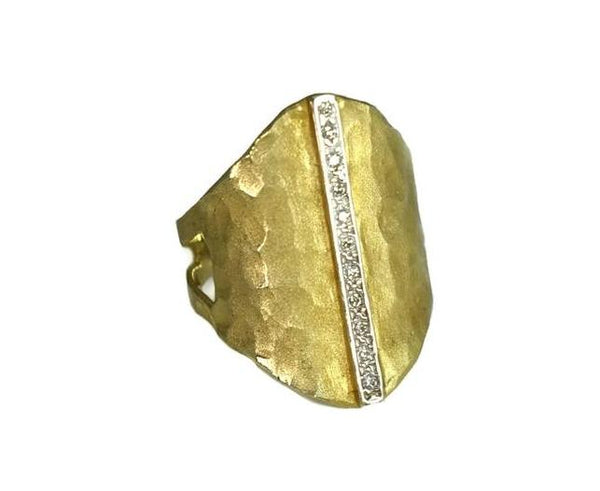 Vintage 14k Satin Matte Elongated Gold Ring Pave Diamonds - Premier Estate Gallery