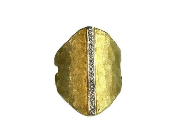 Vintage 14k Satin Matte Elongated Gold Ring Pave Diamonds - Premier Estate Gallery 2