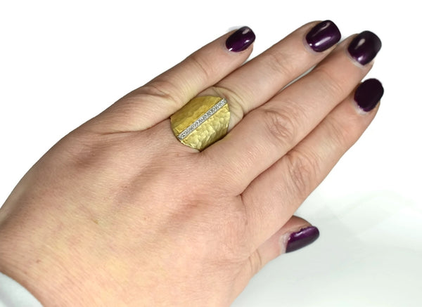 Vintage 14k Satin Matte Elongated Gold Ring Pave Diamonds