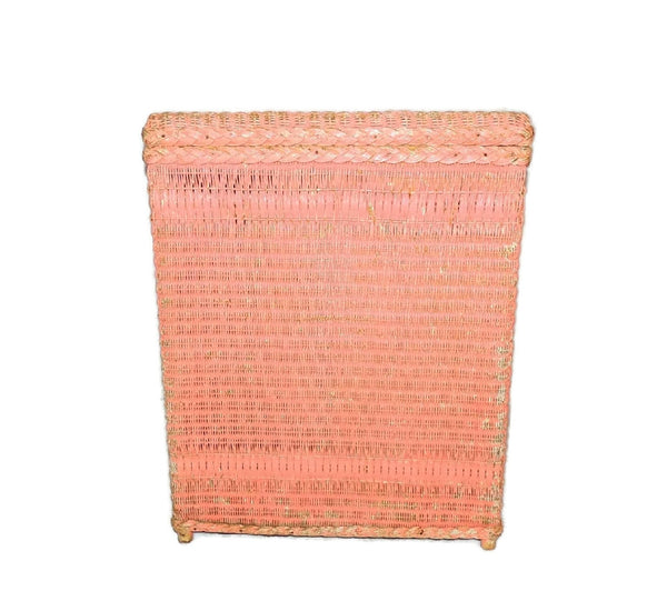 Vintage Pink Wicker Laundry Hamper Shabby Chic Cottage Style - Premier Estate Gallery  - 2