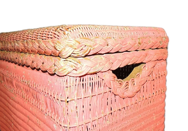 Vintage Pink Wicker Laundry Hamper Shabby Chic Cottage Style - Premier Estate Gallery  - 3