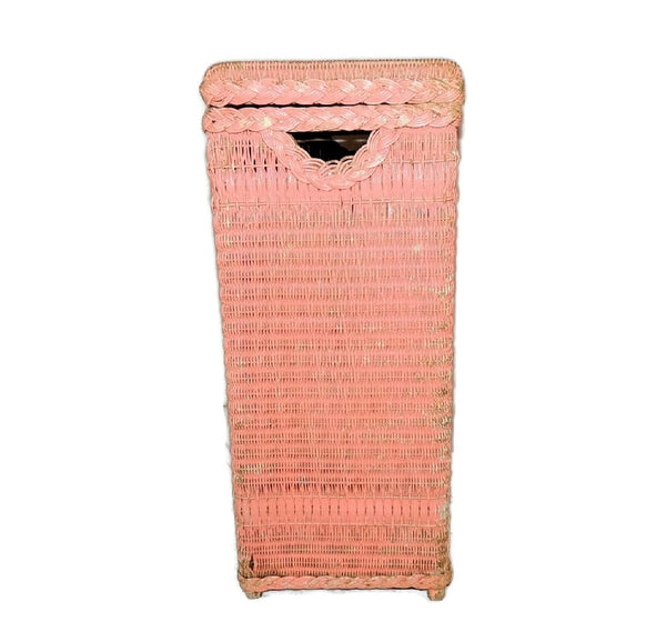 Vintage Pink Wicker Laundry Hamper Shabby Chic Cottage Style - Premier Estate Gallery  - 5