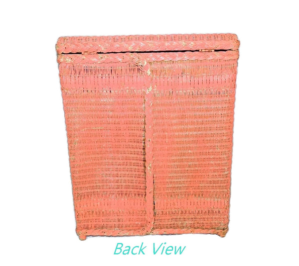 Vintage Pink Wicker Laundry Hamper Shabby Chic Cottage Style - Premier Estate Gallery  - 6