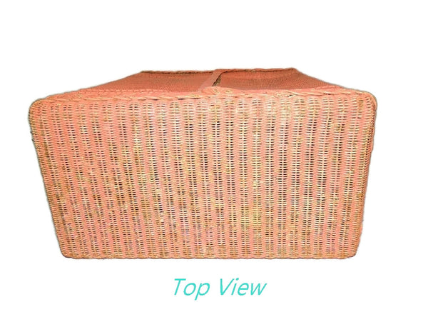 Vintage Pink Wicker Laundry Hamper Shabby Chic Cottage Style - Premier Estate Gallery  - 8