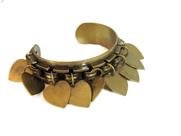 Vintage Brass Cuff Bracelet Dangling Heart Charms - Premier Estate Gallery  - 1