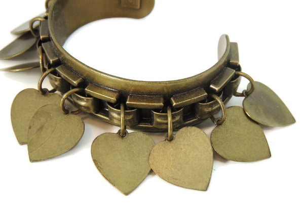 Vintage Brass Cuff Bracelet Dangling Heart Charms - Premier Estate Gallery  - 2