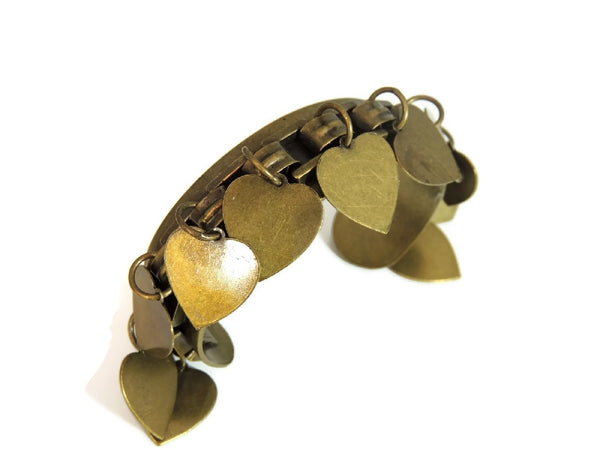 Vintage Brass Cuff Bracelet Dangling Heart Charms - Premier Estate Gallery  - 3
