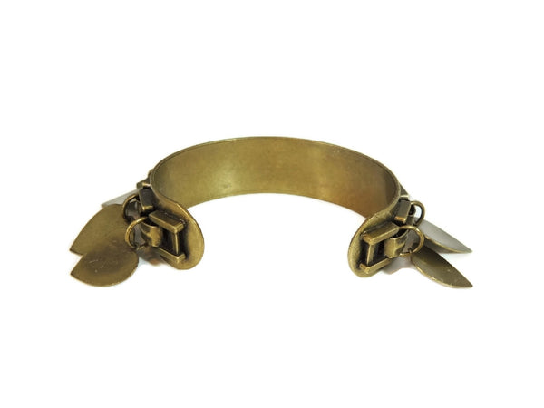 Vintage Brass Cuff Bracelet Dangling Heart Charms - Premier Estate Gallery  - 5