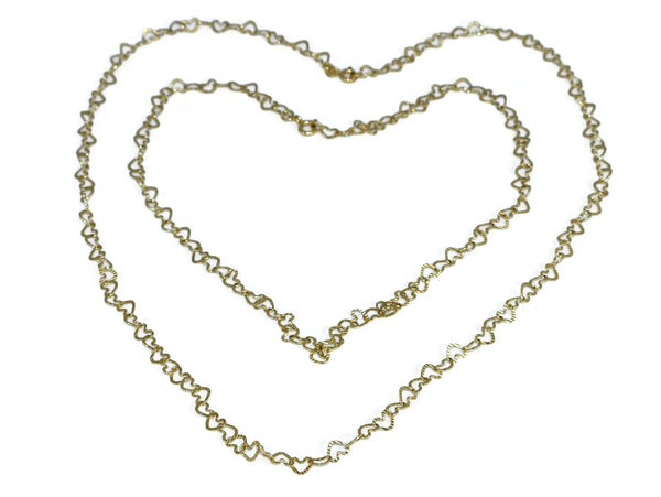 14k Heart Links Necklace Set 2 Chains Vintage Italy