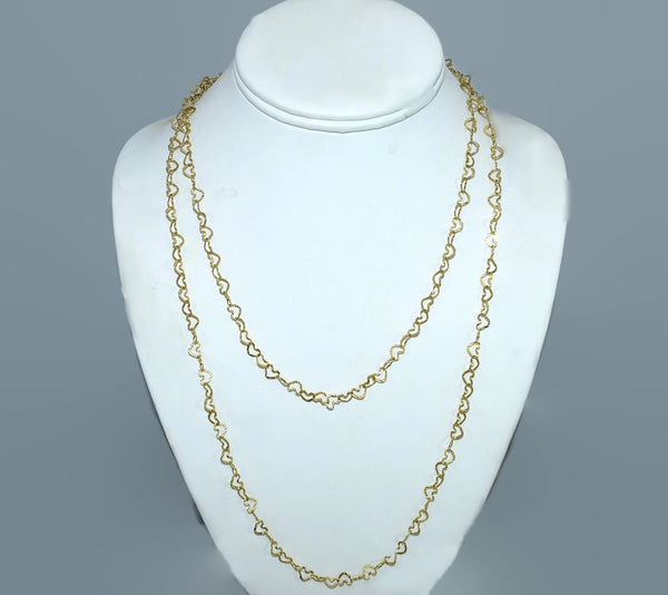 14k Heart Links Necklace Set 2 Chains Vintage Italy - Premier Estate Gallery 3