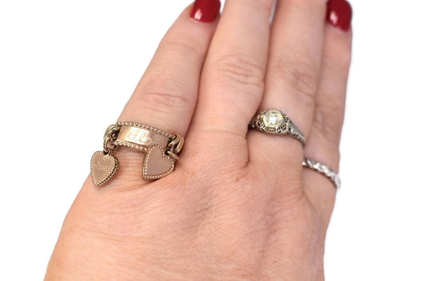Vintage 10k Heart Charm Ring Mother's Ring Rose Gold - Premier Estate Gallery 2