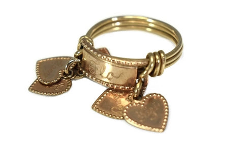 Vintage 10k Heart Charm Ring Mother's Ring Rose Gold - Premier Estate Gallery 1