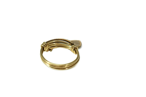 Vintage 10k Heart Charm Ring Mother's Ring Rose Gold