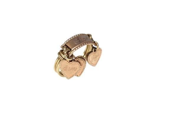 Vintage 10k Heart Charm Ring Mother's Ring Rose Gold - Premier Estate Gallery 3