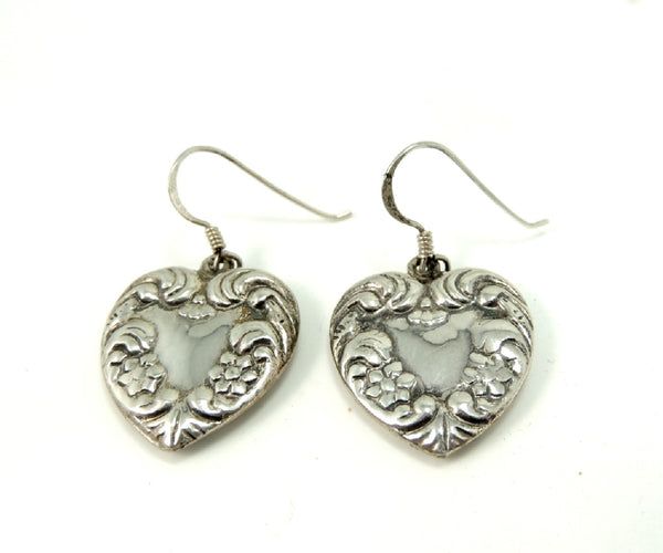 Sterling Silver Heart Earrings Dangle Art Nouveau Style - Premier Estate Gallery  - 2