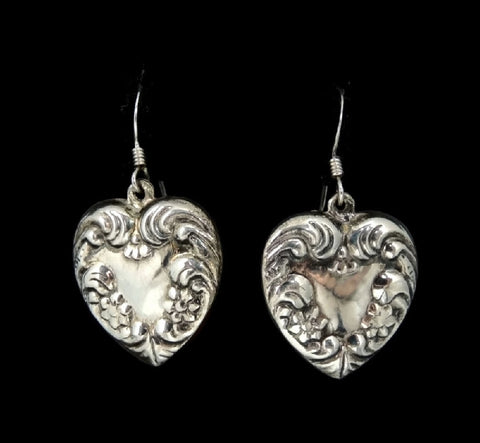 Sterling Silver Heart Earrings Dangle Art Nouveau Style - Premier Estate Gallery  - 1