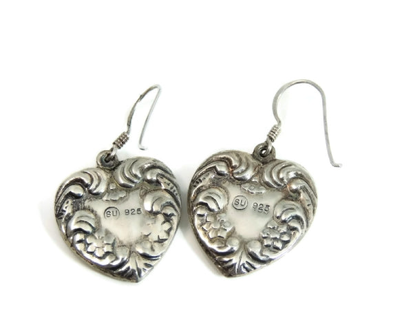 Sterling Silver Heart Earrings Dangle Art Nouveau Style - Premier Estate Gallery  - 3