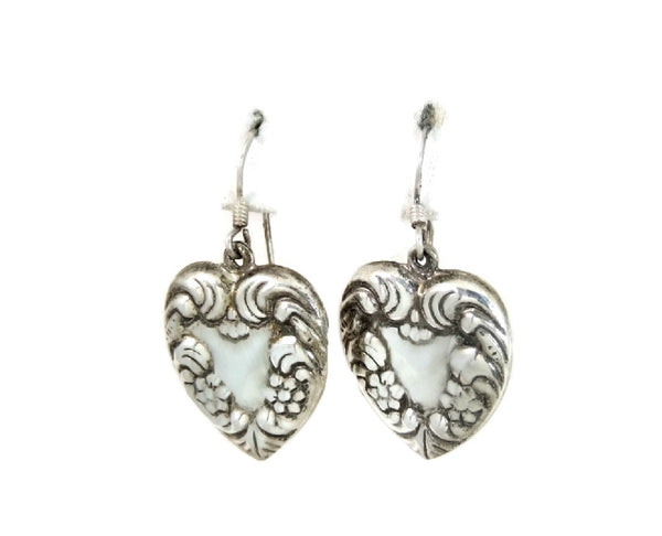Sterling Silver Heart Earrings Dangle Art Nouveau Style