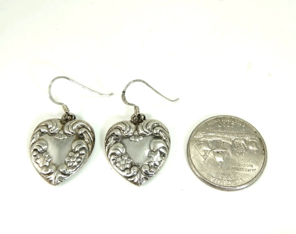 Sterling Silver Heart Earrings Dangle Art Nouveau Style - Premier Estate Gallery  - 4